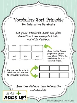 Vocabulary Sort File Folders for Interactive Notebooks
