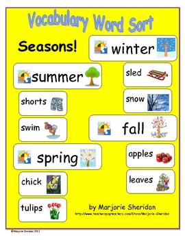 Vocabulary Sort - Seasons!