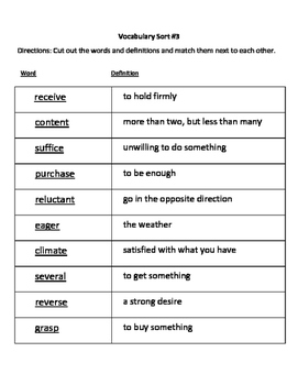 Vocabulary Sort and Quiz #3