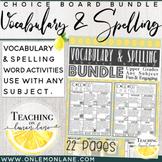 #halfoffsunday Vocabulary & Spelling Choice Board Bundle Upper Grades Work Work