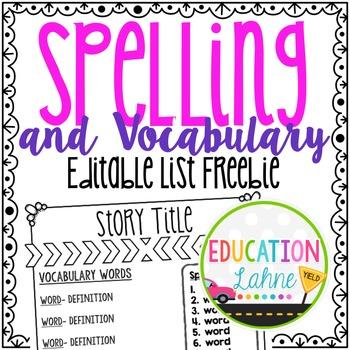 Spelling List by Education Lahne | Teachers Pay Teachers