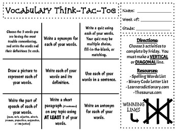 Vocabulary & Spelling Think-Tac-Toe Boards