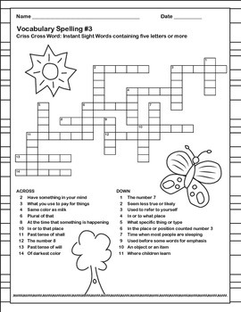 Vocabulary Spelling Worksheets