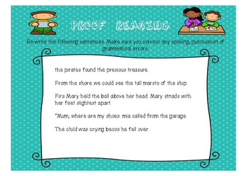 Vocabulary/Spelling and Grammar Activities
