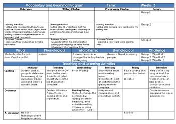 Vocabulary/Spelling and Grammar Program