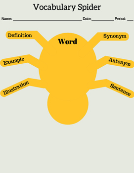 Vocabulary Spider Graphic Organizer