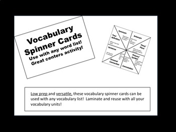 Vocabulary Spinner Cards