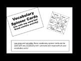 Vocabulary Spinner Cards