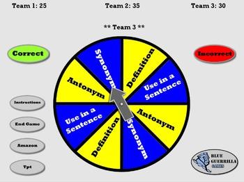 Vocabulary Spinner and Scorekeeper