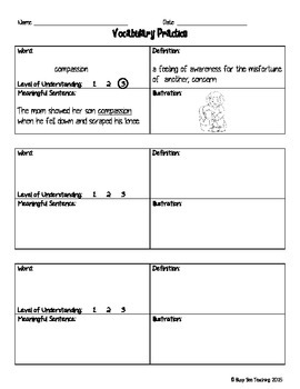 Vocabulary Square Practice Sheet
