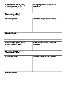 Vocabulary Square Template and Flashcards