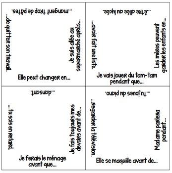 Vocabulary Squares: Temporal Relationships with AVANT, APRES, EN