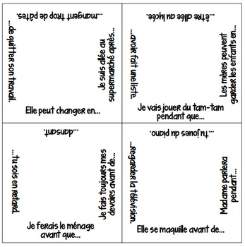 Vocabulary Squares: Temporal Relationships with AVANT, APRES, EN