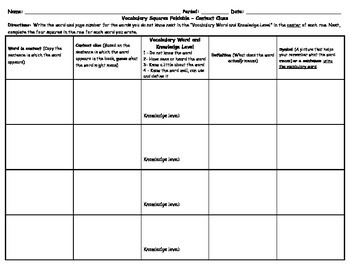 Vocabulary Squares Foldable for Context Clues