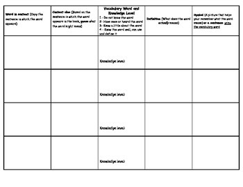 Vocabulary Squares Foldable for Context Clues