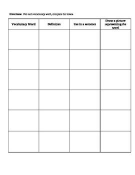 Vocabulary Squares Graphic Organizer