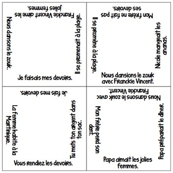 Vocabulary Squares: Present matched with Imparfait