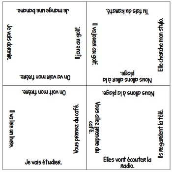 NEW & IMPROVED! Vocabulary Squares: Present matching Futur Proche