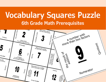 Vocabulary Squares Puzzle (6th Grade Math Prerequisites)