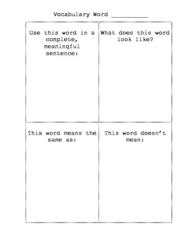 Vocabulary Squares Template By Julie Capper