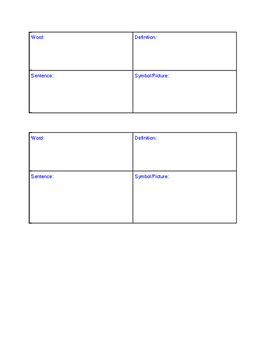Vocabulary Squares for vocabulary words