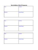 Vocabulary Squares for vocabulary words