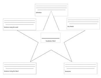 Vocabulary Star Sheet