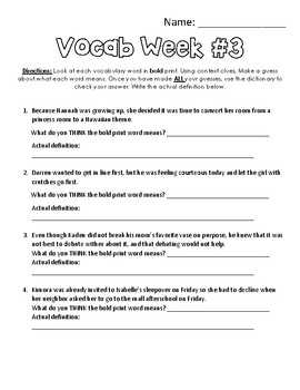 Vocabulary Station - 12 Weeks - Dictionary Dig