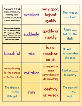 Vocabulary Station (Compatible with Journeys First Grade Lesson 1)