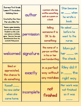 Vocabulary Station (Compatible with Journeys First Grade Lesson 19)
