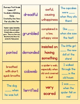 Vocabulary Station (Compatible with Journeys First Grade Lesson 27)