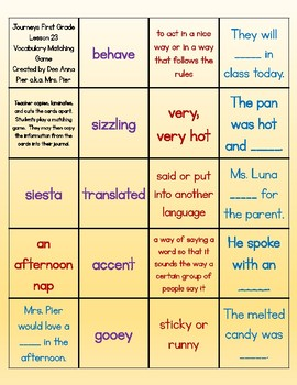 Vocabulary Station (Compatible with Journeys First Grade Lesson 23)