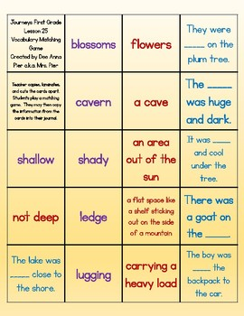 Vocabulary Station (Compatible with Journeys First Grade Lesson 25)
