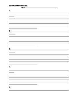 Vocabulary Story Sheet