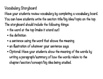 Vocabulary Storyboard with Summary