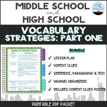 Vocabulary Strategies Packet and Context Clues Poster Bundle