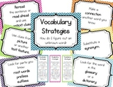 Vocabulary Strategies - Posters and Bookmarks - Chevron - Multicolored