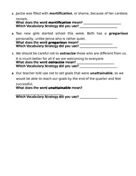 Vocabulary Strategies Practice