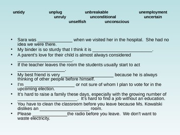 Vocabulary Strategies Word Parts (un) Powerpoint and Assessment Activity