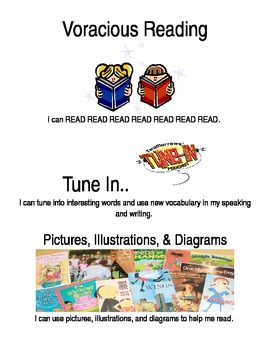 Vocabulary Strategies with Kid Friendly I Can Statements and Pictures