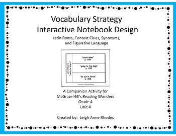 Vocabulary Strategy Interactive Notebook Pages (Wonders Reading)