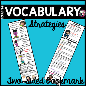 Vocabulary Strategy Two-Sided Bookmark! Grades 3-6  #2