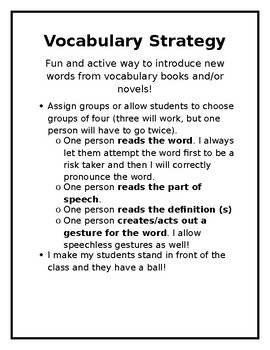 Vocabulary Strategy for Introducing New Words