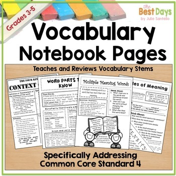 Vocabulary Notebook Pages:  Types of Vocabulary