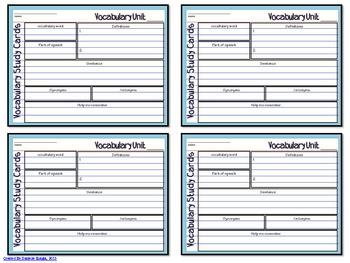 VOCABULARY STUDY CARD