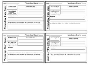 Vocabulary Study Cards