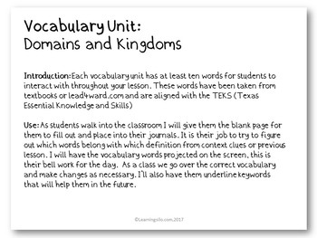 Vocabulary Study - Domains and Kingdoms