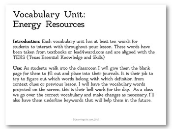 Vocabulary Study - Energy Resources