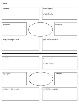 Vocabulary Study - Graphic Organizer