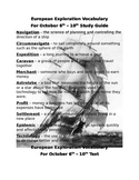 Vocabulary Study Guide and Test for European Exploration -